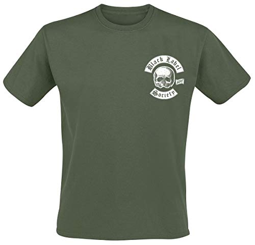Black Label Society Skull LogoPocket Männer T-Shirt Oliv L
