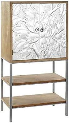 DRW Buffet avec 2 Portes et 2 étagères en Sapin et métal 76 x 40 x 149 cm, argenté et Marron