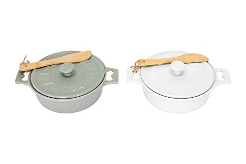 Creative Co-Op Stoneware Brie Bakers with Lids & Wood Spreaders, 7' Round, Set of 2 Colors
