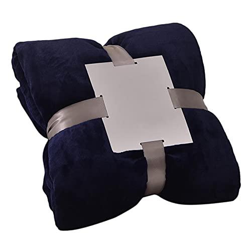 Mvude Manta de Tiro de Franela Manta de Cama cálida para sofá Cama Que viaja,Azul Marino 100 * 120cm
