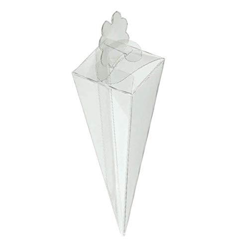Pianeta Confetti Scatolina Cono Riso Pvc Portaconfetti, 50 pezzi, 15 cm