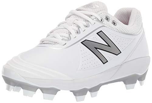 New Balance womens Fuse V2 Tpu Molded Softball Shoe, White/Silver, 8.5 US