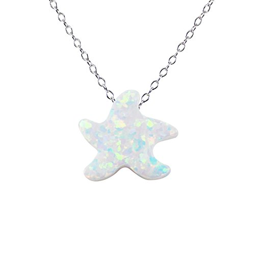 Martinuzzi Accessories Sea Star Necklace Lab-Created Opal Pendant Charm 925 Sterling Silver Chain Small Starfish (Sterling Silver)