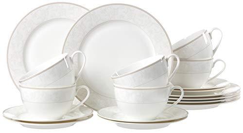 Ritzenhoff & Breker Kaffeeservice Isabella, 18-teilig, Fine-China-Porzellangeschirr, Weiß mit Ornamenten