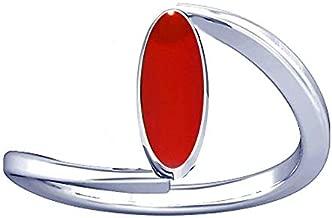 Divya Shakti 7.25-7.50 Ratti Italian Red Coral Ring (Moonga/Munga Stone Silver Ring) Natural AAA Quality Gemstone for Women
