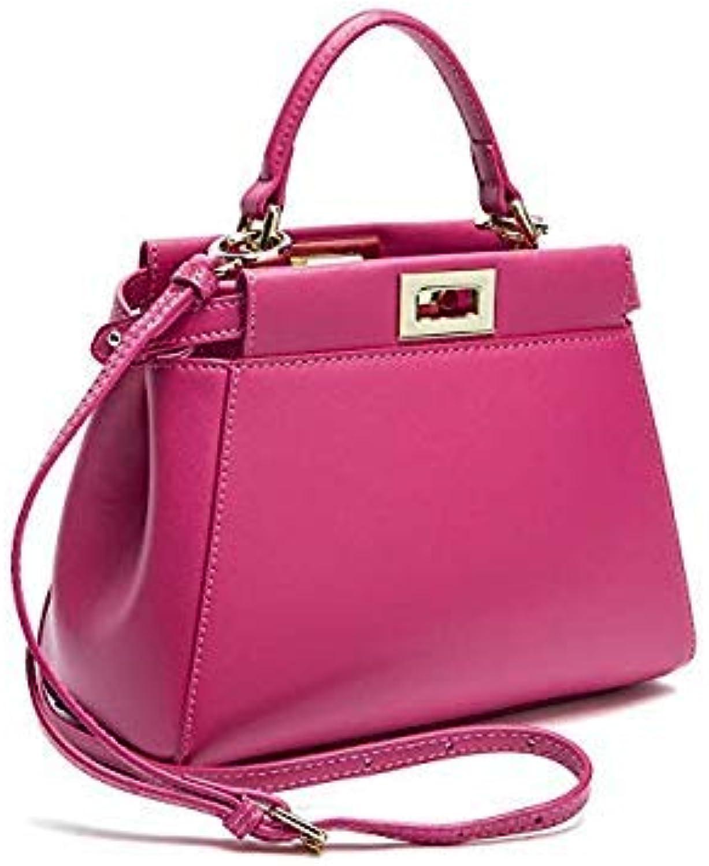 Bloomerang New Designer Brand Classic Peekaboo Tote Bag of 3 Split Leather Handbags Women Ladies Messenger Crossbody Bags an310 color Small pink red