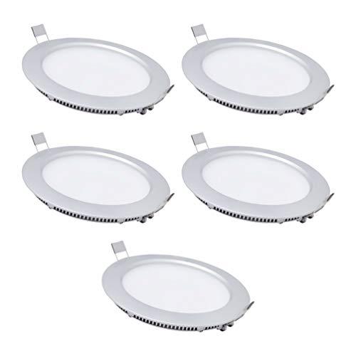 Focos Led Interior Techo,5x Downlight LED 6W (700 lm) Redondo Plano De Empotrar Luz,Blanco Cálido(2800-3200K),blanco frío(6000-6500K),SPDYCESS