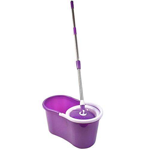 (Purple) - 360C FLOOR MAGIC SPIN MOP BUCKET SET MICROFIBER ROTATING DRY HEADS WITH 2 HEADS (PURPLE)