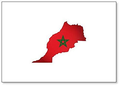 Silhouet van Marokko Kaart met Nationale Marokkaanse vlag Illustratie Koelkast Magneet