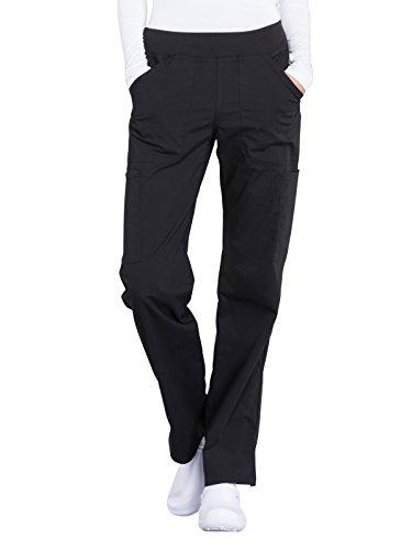 Workwear Professionals Women Scrubs Pant Mid Rise Straight Leg Pull-on Cargo WW170, L, Black