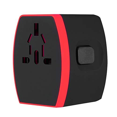 01 Tomacorriente, Tomacorriente USB Universal para Viajes, Maquinillas De Afeitar Prácticas Y Duraderas Multipropósito Cámaras Digitales para Pequeños Aparatos Digitales Computadoras(Rojo)