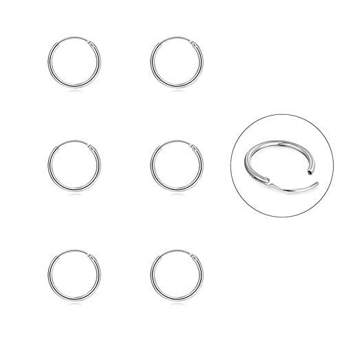 Silver Hoop Earrings- Cartilage Earring Endless Small Hoop Earrings Set for Women Men Girls,3 Pairs of Hypoallergenic 925 Sterling Silver Tragus Earrings Nose Lip Rings (8mm3)