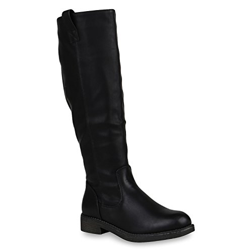 Klassische Stiefel Damen Schuhe Gefüttert Boots Profilsohle 148002 Schwarz Arriate 37 Flandell