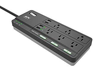 APC Smart Plug Wi-Fi Power Strip with USB Ports PH6U4X32 3 Smart Plugs that Work with Alexa 6 Outlets Total 2160 Joule Surge Protector Black
