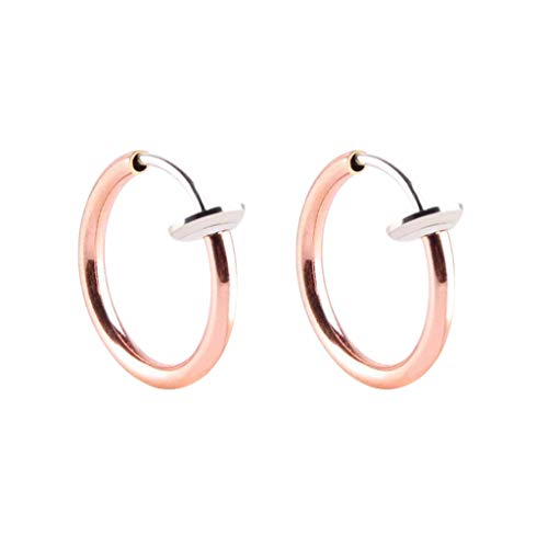 Janly - Pendientes de aro retráctiles para mujer, 2 unidades, con clip en el cuerpo, nariz, labio, oreja, septum, día de San Valentín