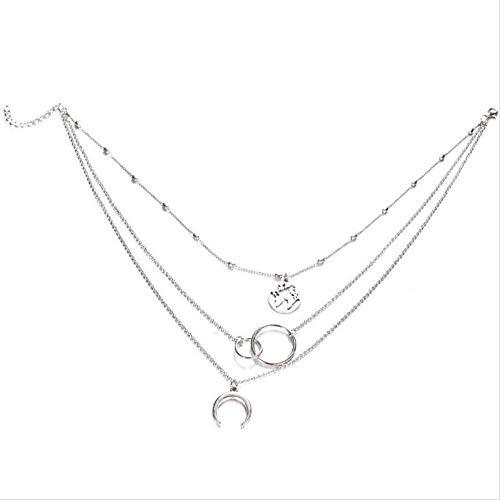 Zaaqio Collar Vintage Multicapa Luna Mapa Collar para Mujer Gargantilla Collar Llamativo para niñas Joyería Bohemia