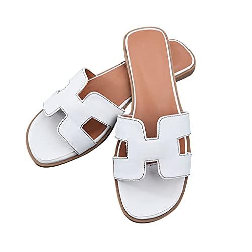 YXCKG Sandalias Planas De Verano, Zapatillas De Moda para Mujer, Zapatos Ligeros para Exteriores, Zapatillas para Caminar Casuales con Goma Suave, Sandalias Cuadradas con Punta Abierta