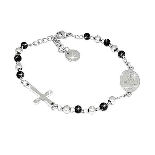 SAGA GIOIELLI Pulsera rosario con esferas negra/plata