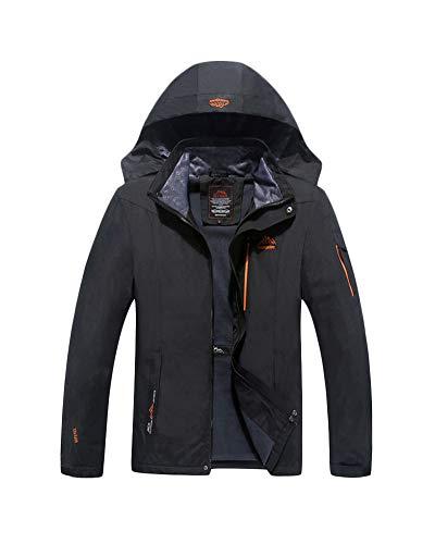 Yonglan Herren Plus Size Jacke Wasserdicht Winddicht Outdoor Regenjacke Atmungsaktiver Bergsportanzug Schwarz 3XL