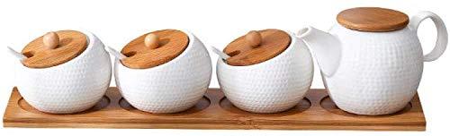 TWH Keramik Gewürzglas, Haushalt Würzen Glas, Bambus Tablett, Gewürzdose, Sojasoße Soße-Kasten, Salz Zucker, Küche Finisher, Werkzeug