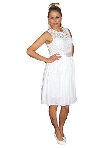 Unbekannt Brautkleid Spitze kurz Hochzeitskleid S M L XL XXL XXXL XXXXL Braut Kleid Standesamt Weiß (44)