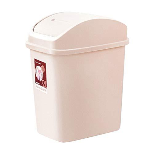 Bote de Basura Bote de Basura Plegable, Bote de Basura de plástico con Tapa giratoria, Adecuado for baño/Cocina/Oficina (Rectangular) Bote de Basura Humano Simple (Color : Beige)