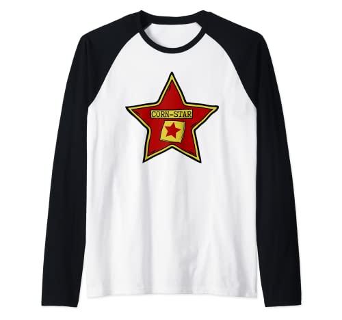 Camisas divertidas Cornhole para hombres y mujeres   Cita CORN-STAR Camiseta Manga Raglan