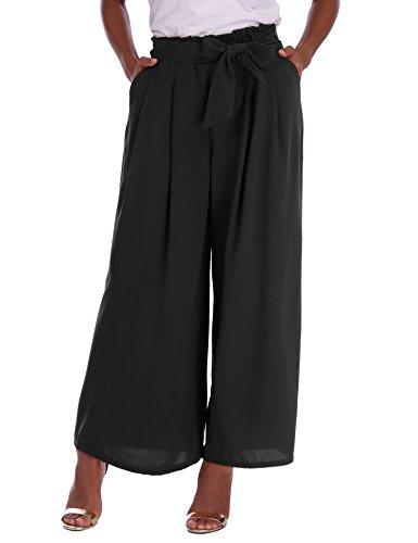 Abollria Damen Weite Hose Chiffon Paperbag Hose Casual Hosen Weite Bein Hohe Taille mit breiter Gummibund und Gürtel
