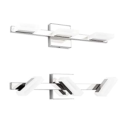LED Vanity Light, LETSUN 21.8inch Modern Bathroom Light Fixtures Over Mirror for Bathroom Vanity Lights in Chrome and Acrylic with 360° Rotation, 6000K Cool White Make-up Mirror Front Lamp