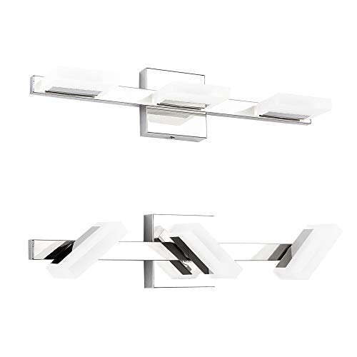 LED Vanity Light, LETSUN 21.8in Modern 3 Lights LED Bathroom Light Fixture 9W Cool White 7000K Bathroom Lights Over Mirror in Chrome and Acrylic with 360 Degrees Rotation, IP44 Splash Proof