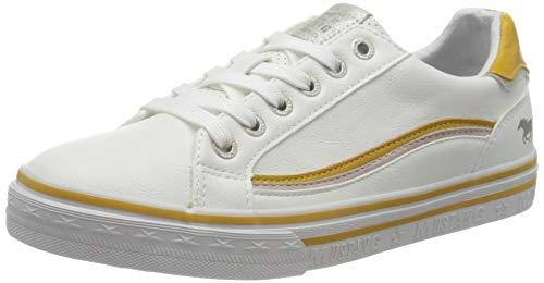 MUSTANG Damen 1354-307 Sneaker, Weiß (Weiß/Gelb 16), 39 EU