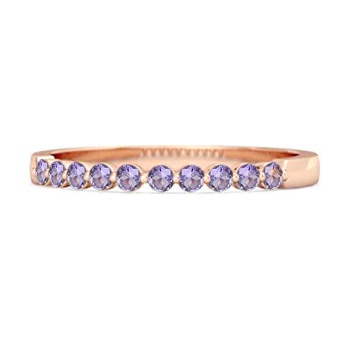Shine Jewel 0,20 Quilates de Amatista Natural Anillo apilable de Media eternidad Chapado en Oro Rosa con Piedras Preciosas en Plata 925