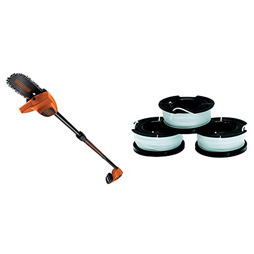 BLACK+DECKERBLACK+DECKER Elettrosega Potatrice a Batteria Litio, Asta regolabile fino a 2.5 m, 18V-2.0 Ah & A6485-XJ Kit 3 Rocchetti Filo Nylon Reflex, Accessori per tagliabordi, 3 x 10 m di filo