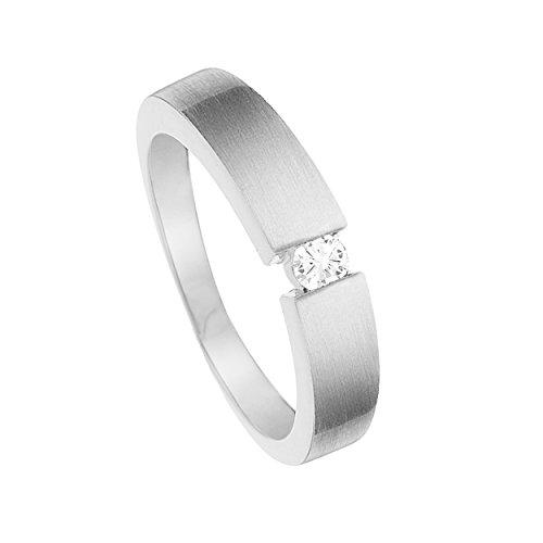 Diamond Line Damen - Ring 375er Gold 1 Diamant ca. 0,08 ct.,Weißgold,60 (19.1)
