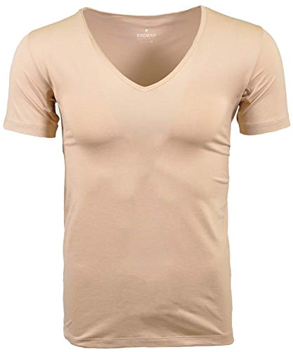 Ragman Herren Functional T-Shirt V-Neck - L - Light Skin