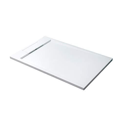 Mai & Mai Plato de ducha blanco Geo04 rectangular con material de fundición mineral, dimensiones: 80x160x4cm
