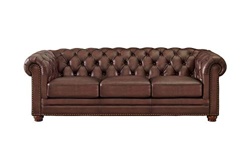 Hydeline Aliso 100% Leather Chesterfield Sofa Couch, 92', Brown