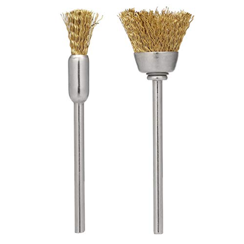 2 Pcs Mini Copper Wire Brushes tainless Steel Handle Dental Nail Drill Bit Cleaning Brush for Slag Stain Rust Dust