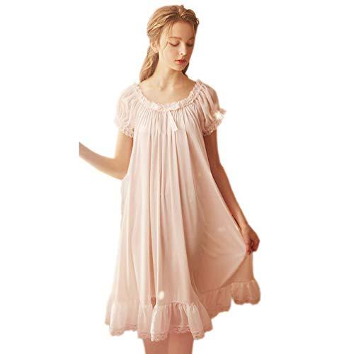 Damen Vintage Nachthemden Nachthemd Satin Seide Viktorianische Nachtwäsche Braut Chemises Loungwear Freizeit Nachthemd Pyjama - Pink - Large