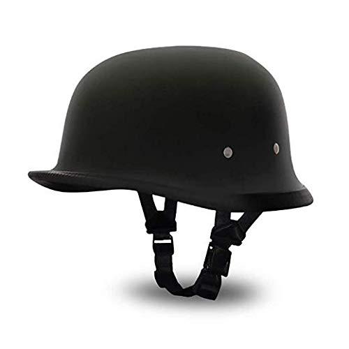 CBTJ Motorradhelm Retro Harley Half Open Face Helm Cruiser Chopper Biker Skull Cap Helm für Jugendliche Männer Frauen Erwachsene,Schwarz,L