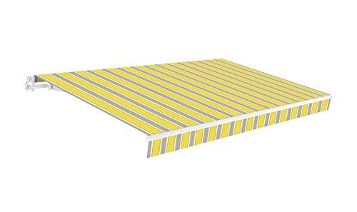 SmartSun Classic Toldo Completo 4x2,5m Color Amarillo/Gris/Blanco Lona poliéster. Estructura de Aluminio. Regulable en inclinación. Manivela incluida. Toldo terraza, Jardin, Balcon