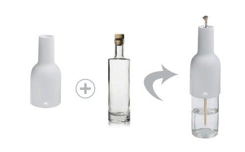 Trendfinding Oellampe Öllampe Öl Oel Lampe Glas Aufsatz aus Porzellan Glasflasche Korken und Docht 500 ml Set