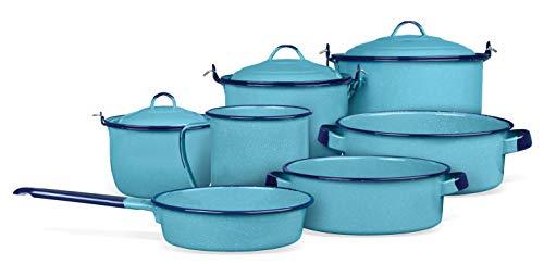 Batería De Cocina Popular 10 Piezas De Peltre Cinsa (Azul)
