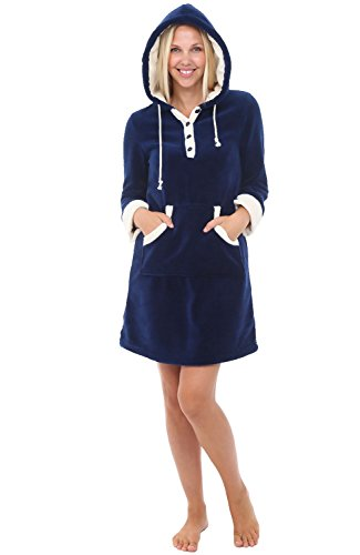 Alexander Del Rossa Womens Fleece Nightgown, Hooded Pullover Lounger with Pockets, XL Navy Blue (A0308NBLXL)
