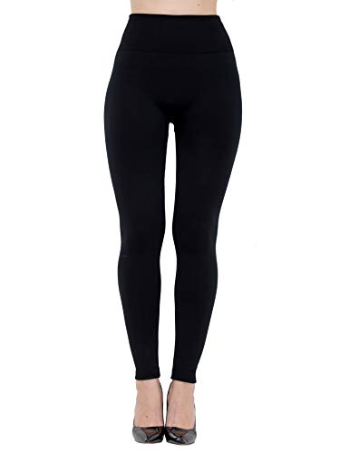 Dimore Womens Fleece Lined Leggings High Waist-Stretch Leggings Pants Thick Tights (Black/1P)