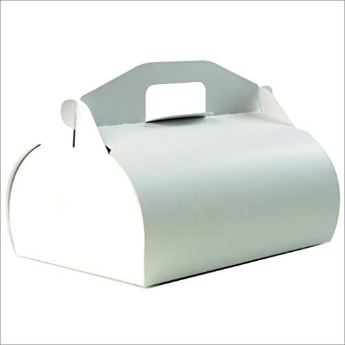 Andreas Ritter Verpackungen Kuchentragebox mit Griff, 25 Stück, 18x26x19cm (Füllhöhe 13cm), weiß, ohne Aufdruck, aus Karton 500g/qm, inkl. 25 Stück Pappteller
