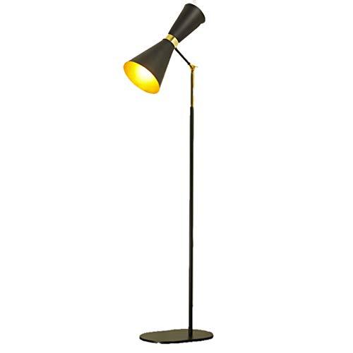 EIU industriële vloerlamp van metaal 2-weg lampenkop LED staande lamp voor woonkamer slaapkamer lezen, zwart 148cm M20-02-04
