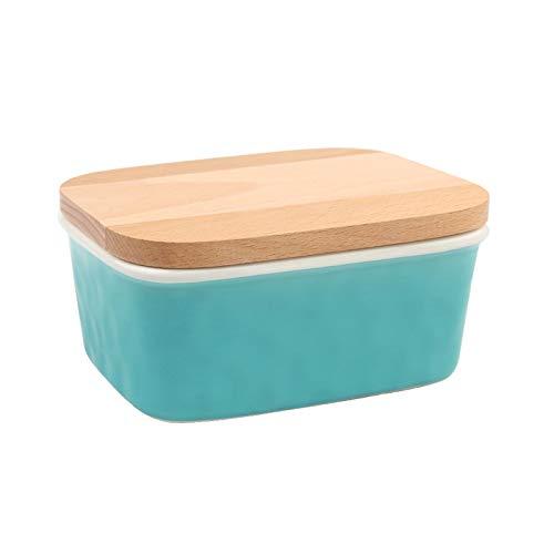LJJOO Contenedor de mantequilla de mantequilla de mantequilla de porcelana, contenedor de mantequilla de porcelana con tapa de madera y anillo de sellado, lavavajillas seguro Mantequillera