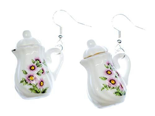 Miniblings Kanne Ohrringe Hänger Teekanne Kaffee Tee Porzellan Blume Goldrand - Handmade Modeschmuck I Ohrhänger Ohrschmuck vergoldet