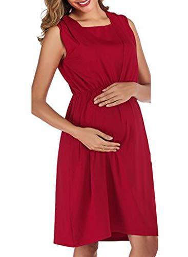 CORAFRITZ Elegantes Umstandskleid, einfarbig, elastische Taille, Stillkleid, ärmellos, Midirock für Damen Gr. Small, rot